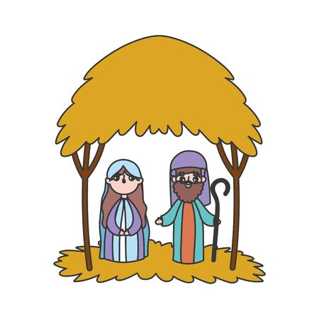 joseph and mary hut manger nativity, merry christmas vector illustration