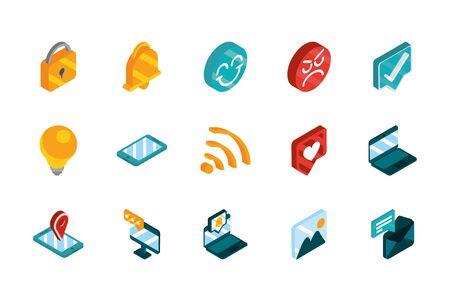 social media isometric icons collection vector illustration Illusztráció