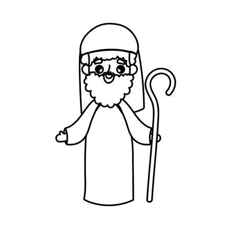 joseph character manger nativity, merry christmas vector illustration thick line Ilustracja