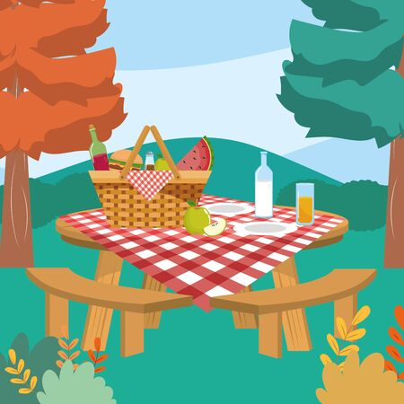 hamper with wine and milk bottle with juice glass to picnic relaxation vector illustration Illusztráció