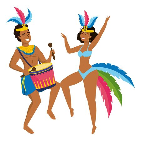 happy couple with feather headdress and drum celebrating brazil canival vector illustration graphic design Ilustracja