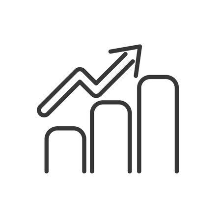 statistics chart finance bank money icon thick line vector illustration