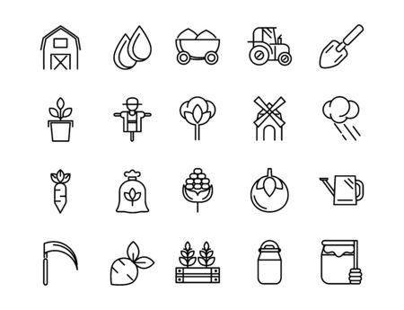rural agriculture thick line icons set vector illustration Ilustracja