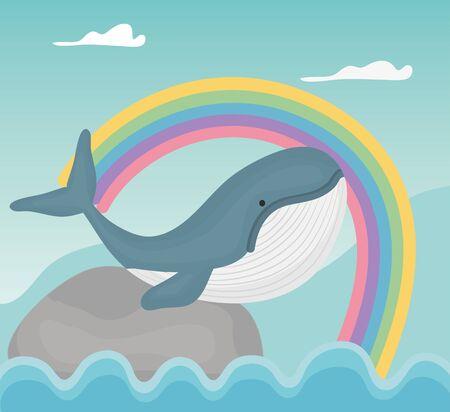 whale ocean rainbow fantasy fairy tale vector illustration Çizim