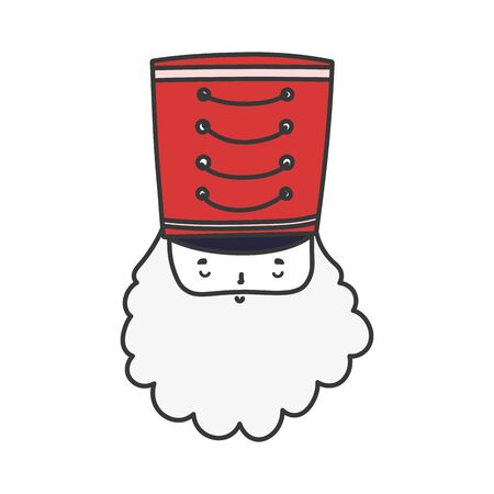 merry christmas celebration nutcracker soldier face with hat vector illustration