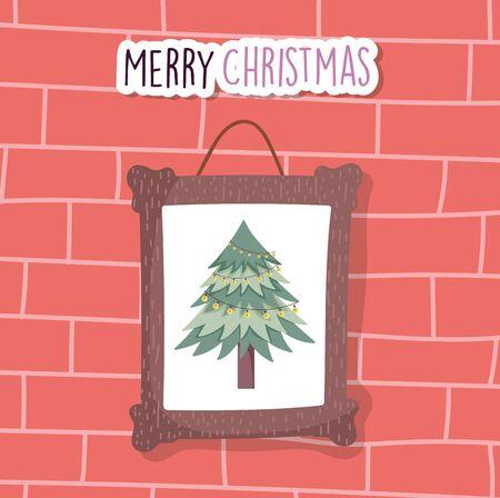 merry christmas celebration hanging frame tree decoration wall brick vector illustration