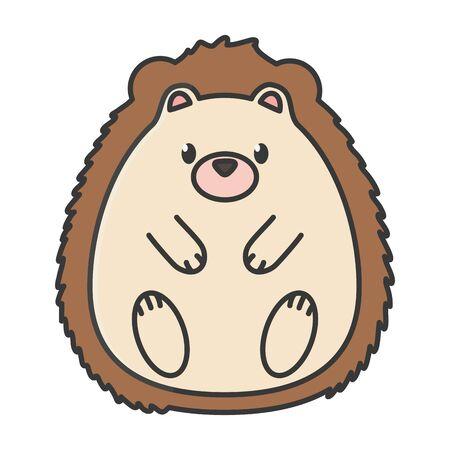 cute hedgehog animal on white background Vettoriali