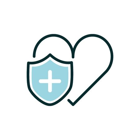 heart shield protection medical icon line fill Stock Illustratie