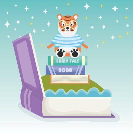 tiger sitting books fantasy fairy tale