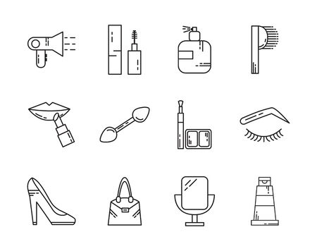 makeup cosmetics jewelry feminine things icons set line style Ilustração