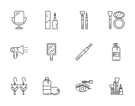 makeup cosmetics jewelry feminine things icons set line style vector illustration