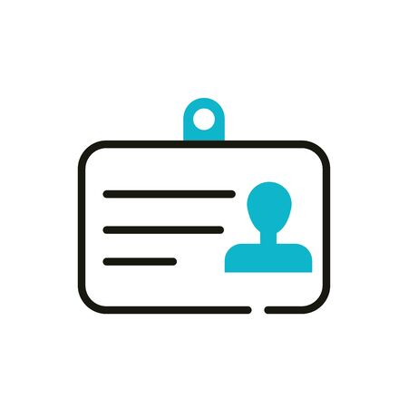id card company social media icon line and fill Illustration