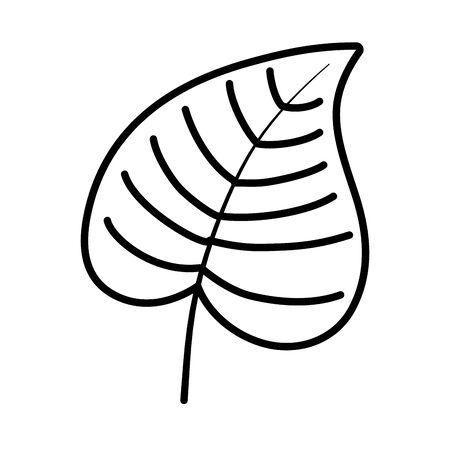 natural leaf foliage autumn on white background vector illustration thick line Illusztráció