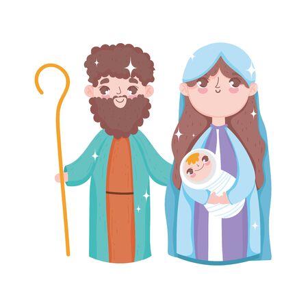 holy mary joseph and baby jesus nativity, merry christmas Vector Illustratie