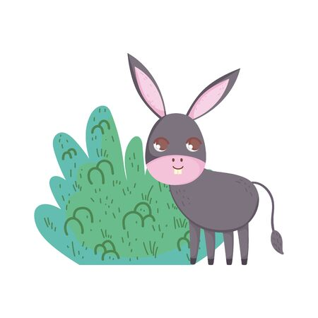 donkey bush nature cartoon design 向量圖像