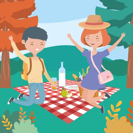 man and woman food picnic nature landscape Ilustração
