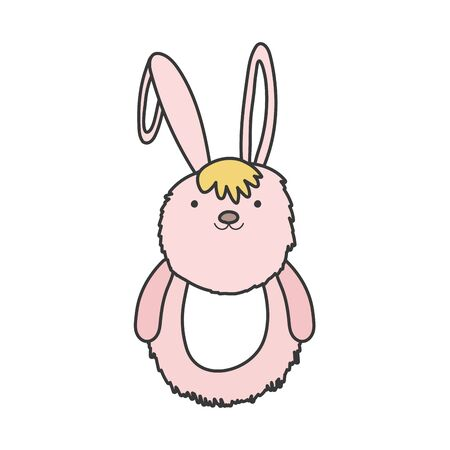 pink fluffy rabbit adorable toy icon