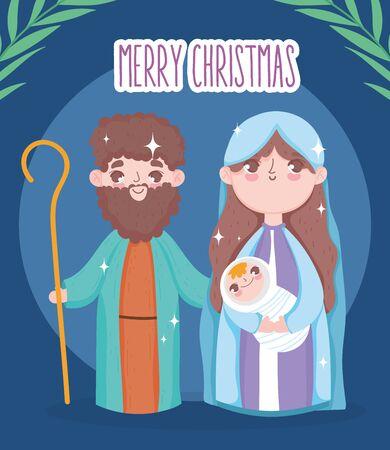 holy mary joseph and baby jesus manger nativity, merry christmas