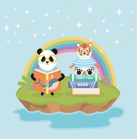 panda and tiger with books rainbow fantasy fairy tale 일러스트