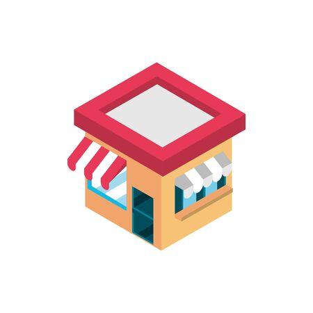 marketplace building online shopping isometric icon