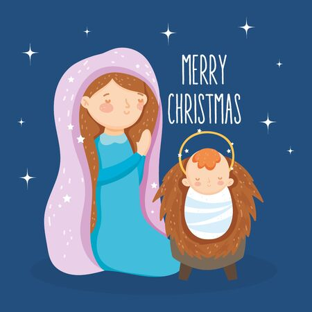 mary praying and baby jesus manger nativity, merry christmas