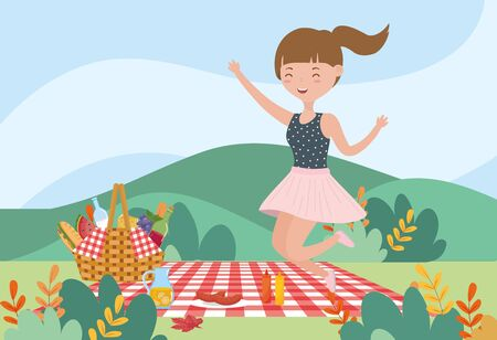 smiling woman basket food picnic nature landscape