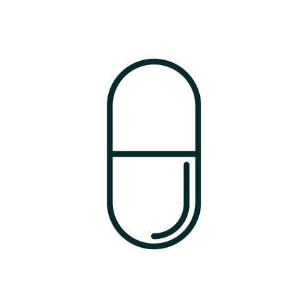 capsule medicine medical icon line vector illustration Illusztráció