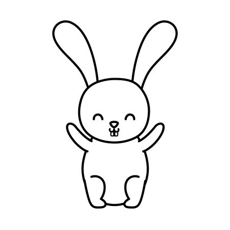 funny cute rabbit little animal cartoon vector illustration thick line