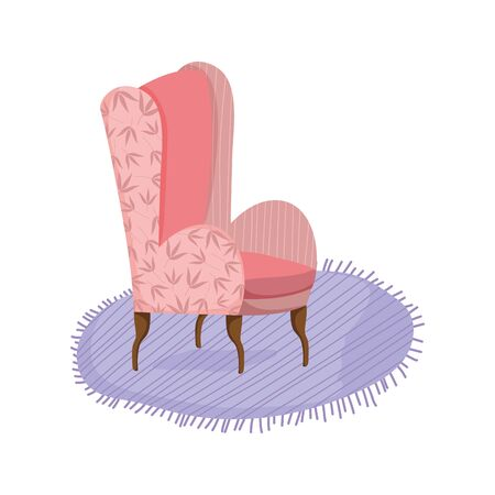 classic chair carpet comfort furniture icon vector illustration