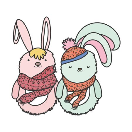 pink and white rabbits with hat and scarf christmas vector illustration Ilustração