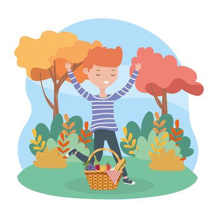 happy man with basket food picnic nature landscape vector illustration