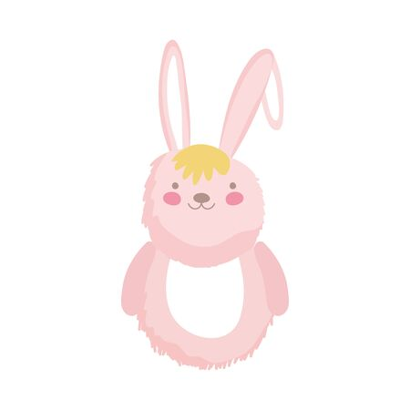 pink fluffy rabbit adorable toy icon on white background vector illustration