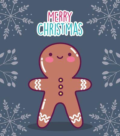 merry christmas celebration gingerbread man biscuit branches decoration vector illustration Ilustração