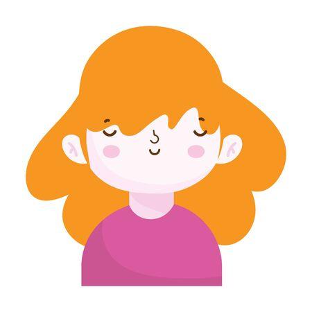 cute little girl portrait cartoon, children vector illustration Ilustração
