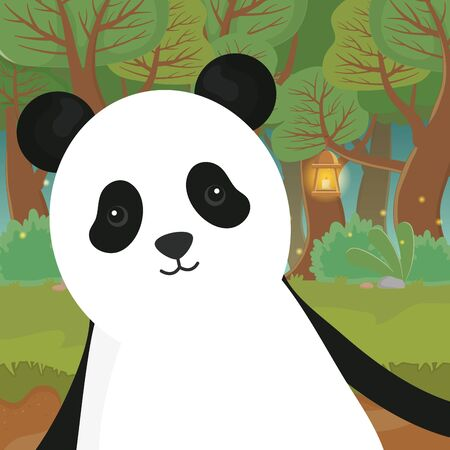 cute animal panda with lamp in the forest vector illustration 일러스트