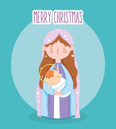 mary with baby in arms manger nativity, merry christmas