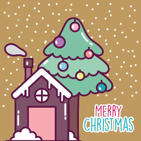 merry christmas celebration gingerbread house and tree snow