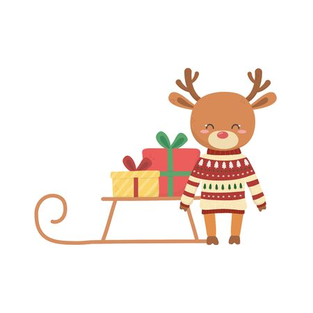 merry christmas celebration cute reindeer with sweater sled gift
