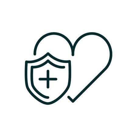 heart shield protection medical icon line