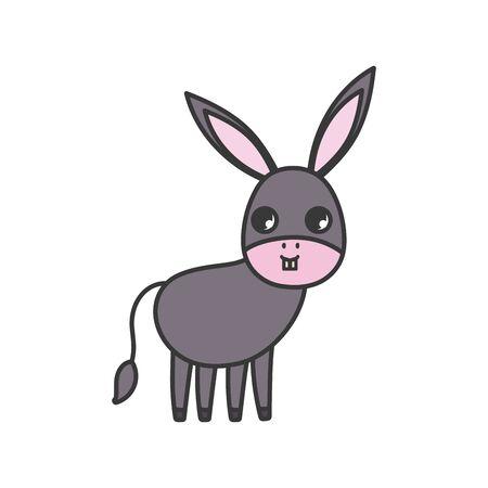 donkey animal cartoon icon on white background Foto de archivo - 133699407