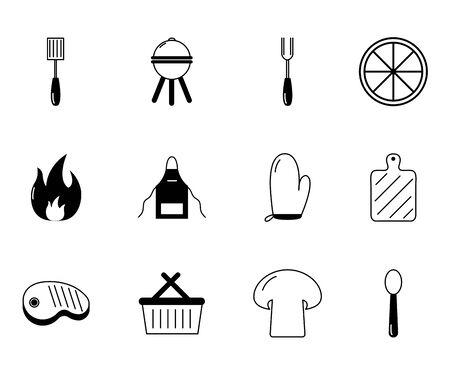 bbq food equipment utensils icons set