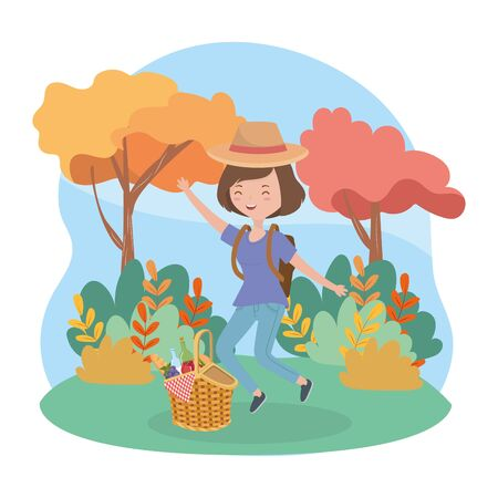 happy woman with basket food picnic nature landscape