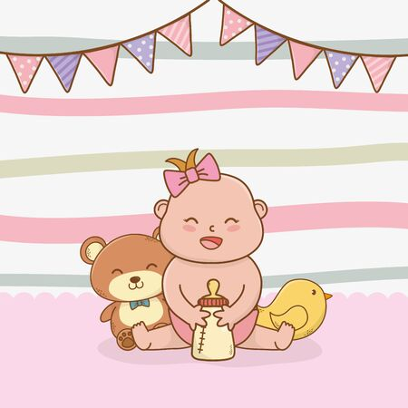 baby shower card with little girl baby