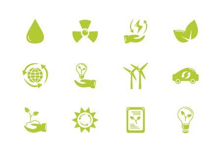 green energy environment icons set flat style Illusztráció