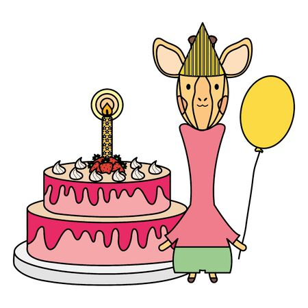 cute giraffe with balloon helium and cake in birthday party Foto de archivo - 133699513