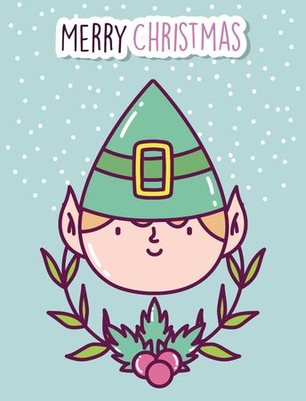 merry christmas celebration cute elf face branch holly berry