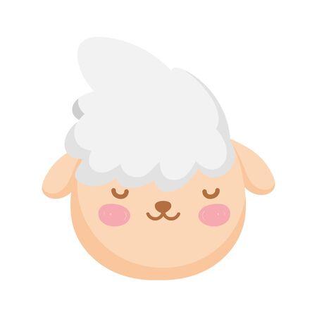 sheep head farm animal cartoon icon