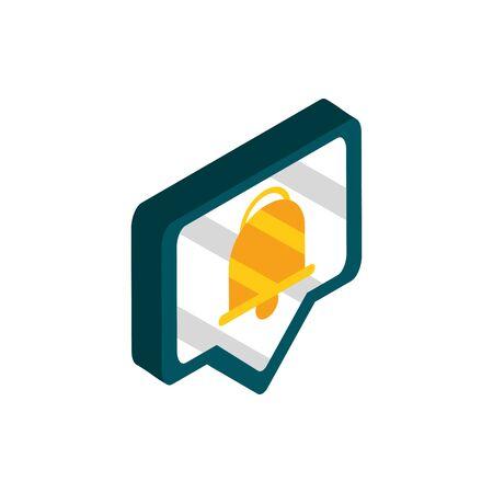 notification message social media isometric icon