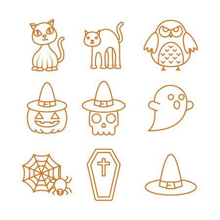 happy halloween viering pictogrammen instellen kleur lijn