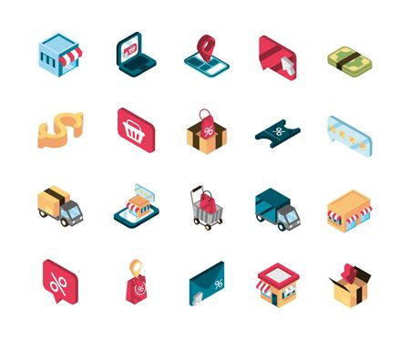 online shopping isometric icons collection Illusztráció